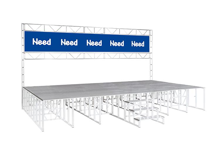 イメージ:背面支柱付ステージ(垂れ幕取付用)