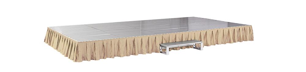 イメージ:折りたたみ式アルミステージ カーテン付(ベージュ)
