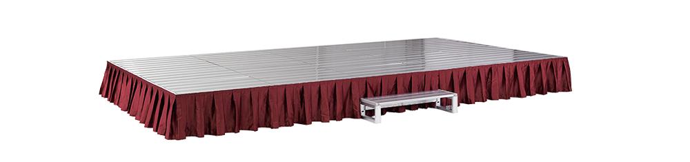 イメージ:折りたたみ式アルミステージ カーテン付(赤)