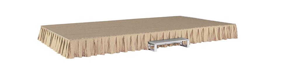 イメージ:折りたたみ式アルミステージ カーテン・カーペット付(ベージュ/ベージュ)