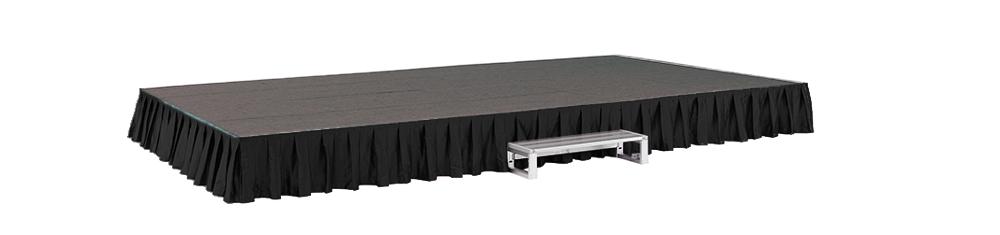 イメージ:折りたたみ式アルミステージ カーテン・カーペット付(黒/グレー)