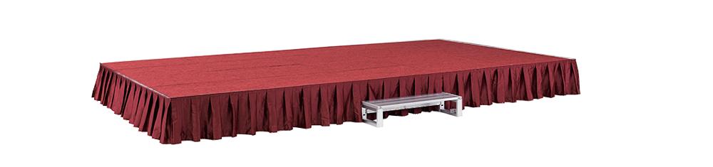 イメージ:折りたたみ式アルミステージ カーテン・カーペット付(赤/赤)